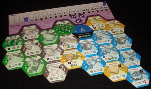 In Suburbia, players acquire tiles to create their own city, making players feel unique. Image from Board Game Geek.
